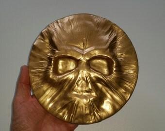 Skull Wall Plaque Glow-in-the-dark plus Gold, Silver or Bronze Metallic finish