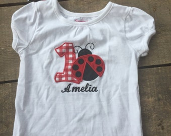 First birthday lady bug shirt
