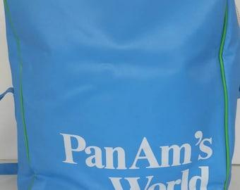 Vintage Pan Am's vinyl shoulder travel bag. 1980's. Pan Am bags.