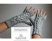 Cable Knit Fingerless Gloves Knitting Pattern, Instant Download, PDF, Digital Knitting Pattern for Cable Knit Arm Warmers