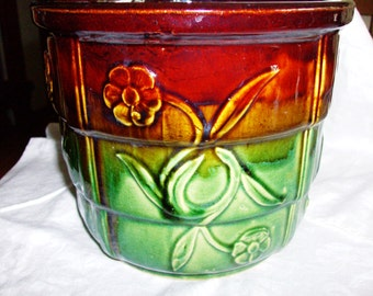 USA Pottery Planter Glazed Greens & Browns Unsigned McCoy Pottery Floral Design Collectible Art Planter Vtg 50's Pottery Art Gift