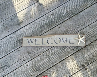 Welcome Sign, Starfish,Coastal,Beachy,Nautical,Home,Welcome,Beach