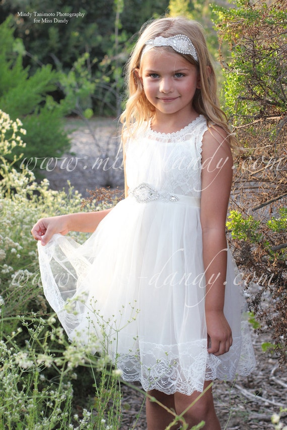 Grace Dress- Off White Flower Girl French Lace & Rhinestone Sash Dress, Shabby Chic dress, Bohemian dress, flower girl dress, first birthday