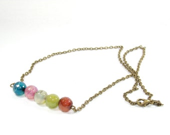 Bronze chain necklace and its multicolor faceted agate beads gemstone