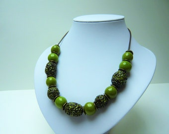 "Necklace ""nature"" with beads ceramic in green tones"