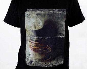 Black Short Sleeve Surreal Printed TShirt