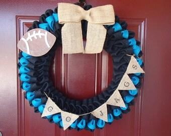 Jacksonville Jaguars Wreath; Teal and Black; Jaguars; Jax; Front Door Wreath; Go Jags