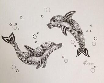 Zentangle Dolphins