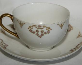 Antique Tressamane & Vogt Tea Cup and Saucer (TRV87 pattern) - Three (3) Sets