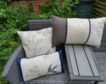 Cushion covers with swallow/fern/butterfly fabric, various sizes and shapes. Beige, blue and brown fabric. envelope backs. Ready to ship. UK