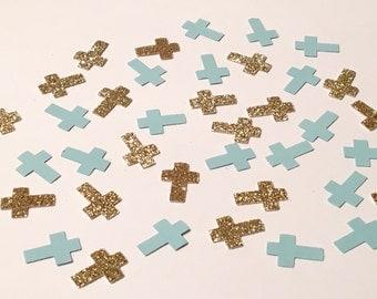 200 Blue and Gold Glitter Confetti Cross Confetti Christening Confetti Communion Confetti Confirmation Confetti Die Cut Punch Confetti