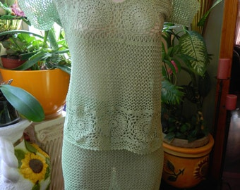 Crochet Mint Colored Top with Matching Skirt Size M