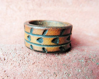Stacking Ring, Leather Ring, Leather Jewellery, Boho Ring, Hippie Ring, Natural Ring, Geometric Jewellery, Thumb Ring, hipster jewellery