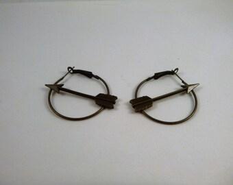 Hunger Games Inspired Arrow Hoop Earrings