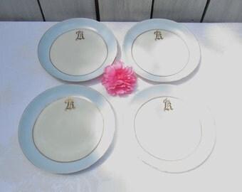 Vintage Monogrammed LK plates, set of 4 blue & white mongramed plates, Lk mongram, KL monogram, dining and serving plates,cottage chic style