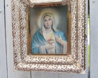 Jesus picture, Mary picture, hologram Jesus picture, gold gilded light up picture, Christian picture, Catholic Art, Vintage Religious art,