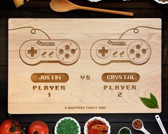 Custom Gamer Cutting Board Personalized Wedding Gift Cutting Board Retro Gamer Controller Chopping Block