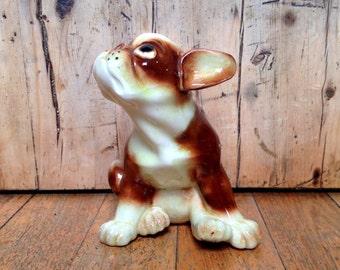 Vintage ceramic boxer dog figurine handpainted in Japan