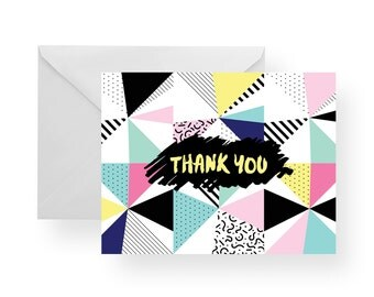 Thank You Cards 80's (Set), note cards pattern, stationary, pink note cards, blue note cards, black stationary, yellow stationary