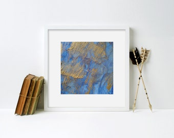 Abstract Print Blue Gold Framed Print - Black Frame, White Frame, Natural Frame - 12 x 12 inches, 16 x 16 inches