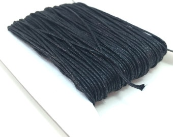 100ft, 50ft, 25ft, 10ft 1mm Black Waxed Cotton Cord