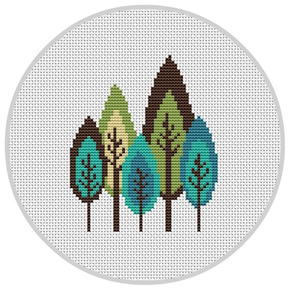 Retro trees cross stitch pattern pdf instant download modern