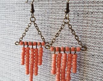 Coral Pink Beaded Chandelier Earrings