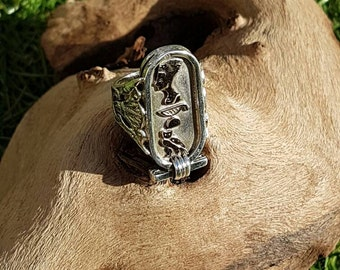 Silver and gold handmade egyptian cartouche ring