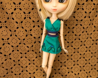 Fitted Emerald Bustier+Flared Skirt SET Outfit Pullip Blythe Dal Barbie Pure neemo J-doll fitted chic fashion black Embellishment barbie