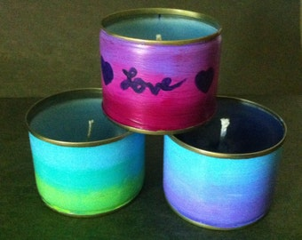 Upcycled Hand Painted Ombre Candles
