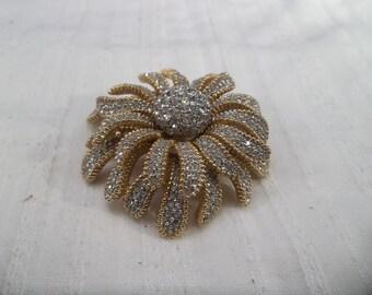 Vintage Circa Rhinestone Floral Brooch