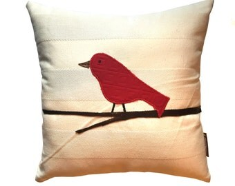 Red Bird Pillow created from designer textiles