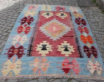 Turkish Cicim Kilim Rug 96.45''x57.08'' Anatolian Kilim Rug,Vintage Kilim Rug,Handmade Kilim Rug