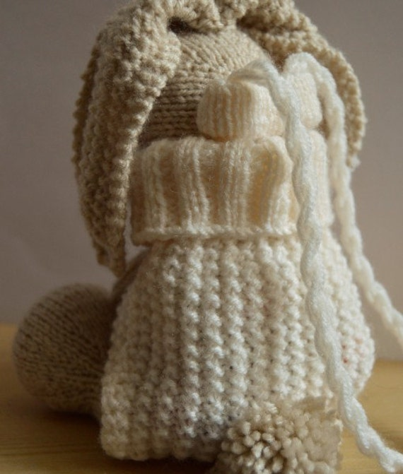 Backpack Knitting Pattern : Bunny Bag Knitting Pattern, Rabbit Backpack Knitting Pattern, Easter Bunny Ba...