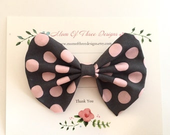 Baby girl, toddler Fabric bow, Pink Dots