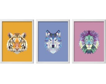Set Of Three  Posters -  Animals