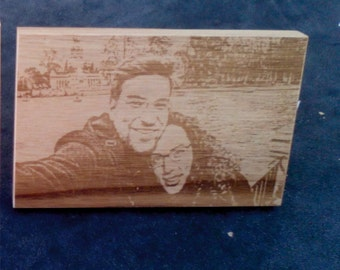Photo engraved in wood.