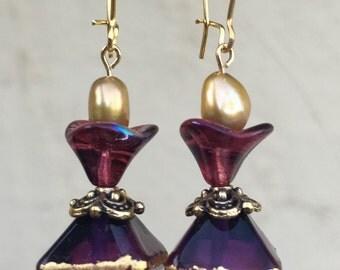 Lampwork bicone bead earrings in blue , pink and violet