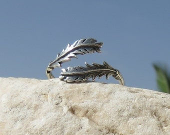 Sterling Silver Feather Wrap Ring, Feather Ring, Silver Feather Ring, Rings, Silver,  Feather Jewelry, Wrap Rings, Adjustable Ring, Gift.