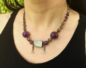 Necklace with pyrite and amethyst