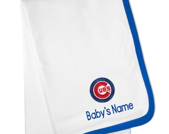 Personalized Chicago Cubs Baby Blanket