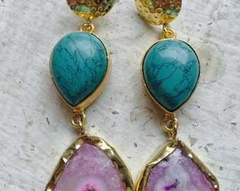 Pretty Party Turquoise and druzy danglers