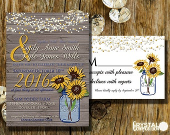 Sunflower Wedding Invitation Suite Printable