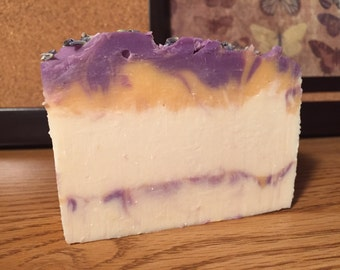Lavender & Chamomile Goat Milk Soap - Handmade Cold Process with Shea Butter, Cocoa Butter, Colloidal Oatmeal - Full Bar/Half Bar/Samples