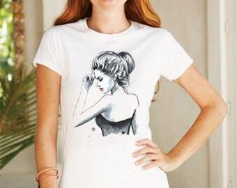 Watercolor Fashion girl Tshirt vneck