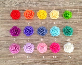 12/15/24 Pcs ~ 20mm Resin Rose Flower Beads Charms Flatback Cabochon Jewelry Crafts Embellishment Findings