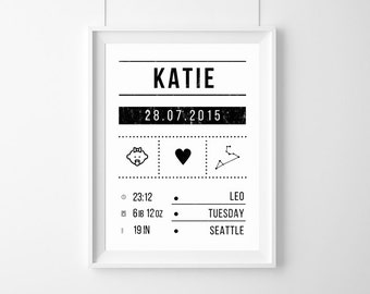 Birth Announcement Art Print,birth-certificate,zodiac sign baby,custom Baby Birth,new baby gift,Baby birthday poster,baby gift born,