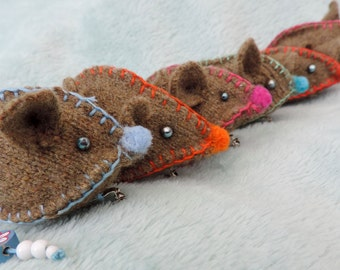 Hand stitched, Mouse Brooches.