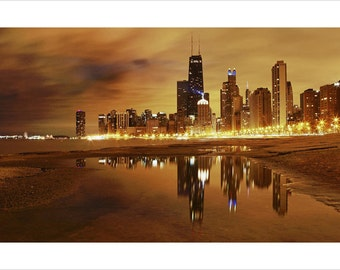 Chicago VIEW from the WATER poster 24X36 golden lights GLOWING collectors