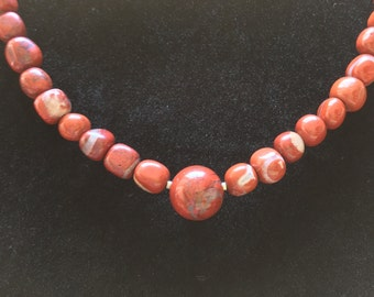 Red Jasper Nugget Necklace, Free Shipping